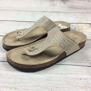 Nicole Footbed Sandals Bling Flip Flops Rhinestone